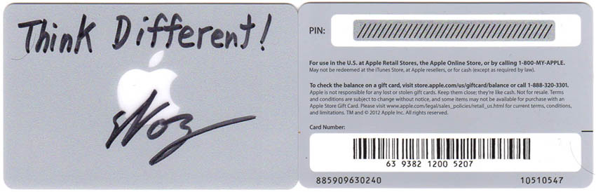 Signed Think Different! $20 Gift Cards
